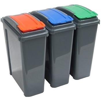 Set of 3 25l slimline recycle kitchen waste bin 25 litre plastic storage bins with blue green - Slimline waste bin ...