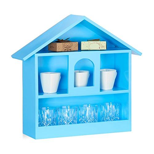 Relaxdays Wandregal Hausform mit 3 Fächer, dekorativer Setzkasten, matt lackiertes Holzhaus, HxBxT: 50x53x15 cm, blau