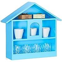 Relaxdays Wandregal Hausform mit 3 Fächer, dekorativer Setzkasten, matt lackiertes Holzhaus, HxBxT: 50x53x15 cm, blau preisvergleich bei kinderzimmerdekopreise.eu