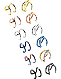 12 Pieces Ear Cuff Set Non Piercing Cartilage Earring Cuffs Stainless Steel Clip-on Ear Accessory, 2 Styles, 6 Different Colours