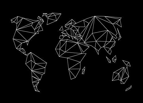 "JUNIQE® Leinwandbild 60x90cm Schwarz & Weiß Weltkarten - Design ""Geometrical World - black""..."