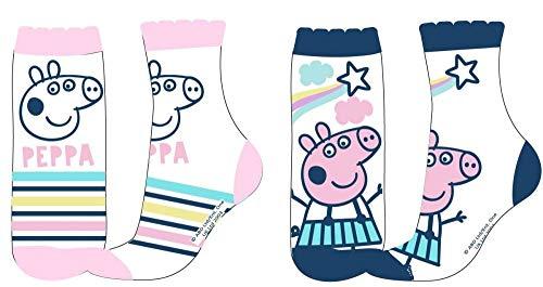 Coole-Fun-T-Shirts 2 Paar Peppa Wutz Socken Mädchen Strümpfe original 23/26 27/30 31/34 (31/34)