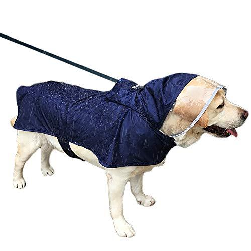 Duolemi Wasserdichter Hunde-Regenmantel Portable große Haustier-Regenjacke, Hunderegenmantel, justierbarer wasserdichter Regenmantel mit sicherem reflektierendem Streifen (XL, Marine)