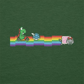 TEXLAB - Cat Kart Rainbow - Herren T-Shirt Flaschengrün