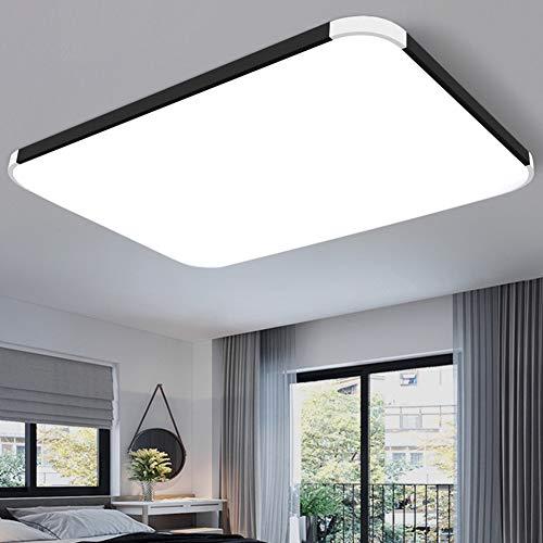 XUE LED-Deckenleuchte, Flush Mount Deckenleuchte mit Fernbedienung dimmbare Farbwechsel 72 / 96W 3000K-6500K Lumen-Platz-Panel Licht Leuchte für Wohnzimmer Schlafzimmer,Schwarz,36.6in -