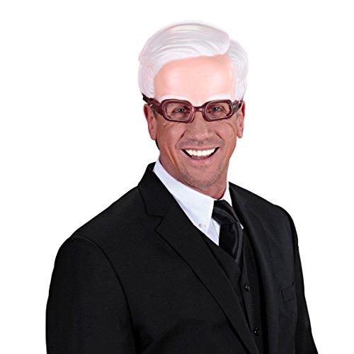 NET TOYS Kinnlose Maske Opa mit Brille Alter Mann Halbmaske Greis Faschingsmaske Großvater Gesichtsmaske Professor Brillenmaske Uropa Karnevalsmaske