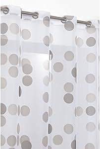 RideauDiscount - Rideau Voilage - Motif Pois Multicolores - 140x240 cm - Blanc Taupe