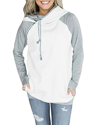 FASTYLING Women Casual Pullover Hooded Hoodies Long Sleeve Coat Loose Casual Sweatshirts M/36 Weiß (Fashion Womens Winter)