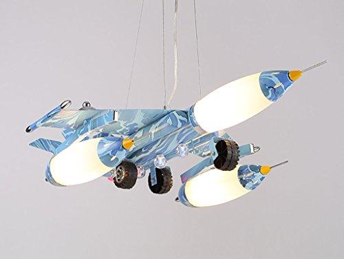@Leuchter Kinder Zimmer Flugzeuge Pendelleuchte/Kreative Jungen Mädchen Kindergarten Schlafzimmer Persönlichkeit Cartoon LED Lampen (Farbe : Camouflage blue-Warm) (Camouflage-lampen Für Wohnzimmer)