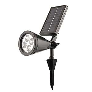 Lumi re lampe solaire mabor etanche 4 led sans fil for Lumiere exterieur sur fil