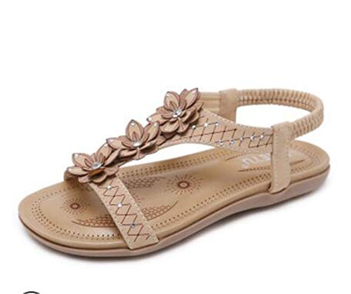Boheme Flower Flat Sandals Women Elastic Band T-Strap Gladiator Sandalias Mujer 2018 Crystal Floral Summer Shoes Woman c469 Apricot 9.5
