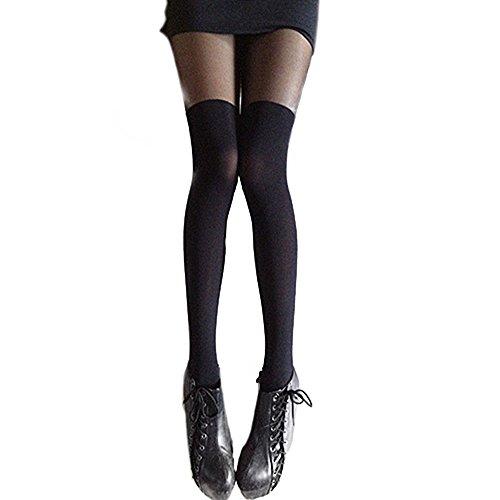 Damen Schwarz über dem Knie Strumpfhosen Oberschenkel hohe Strümpfe