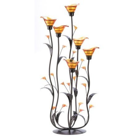 Gifts & Decor Amber Calla Lily Flower Bunch Tealight Candle Holder by Click88