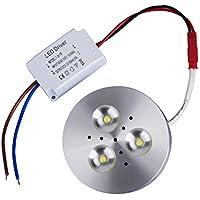 T-SUN LED illuminazione sotto Armadietto, 3 W LED, 300 lm, 3000 K Bianco chuad, lampada di guardaroba, armadio, scaffale, ingresso,alimentatore incluso