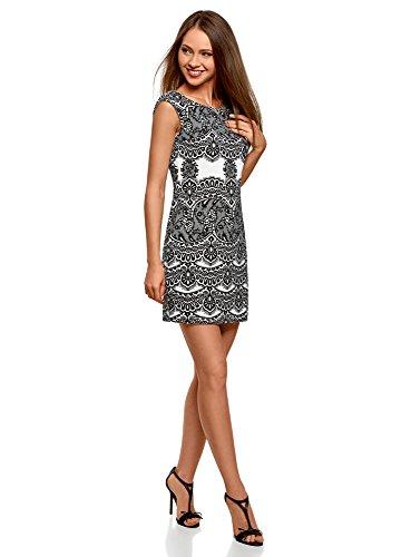 oodji Ultra Damen Jerseykleid mit Spitzen Druck Weiß (1229L)