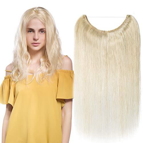 Extension capelli veri con filo invisibile fascia unica wire in 100% remy human hair lisci umani lunga 45cm pesa 65g, #60 biondo platino