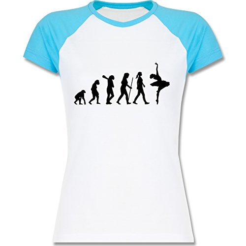 Shirtracer Evolution - Ballett Evolution - Zweifarbiges Baseballshirt/Raglan  T-Shirt für Damen Weiß
