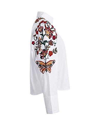 Simplee Apparel Damen Baumwolle Bluse Retro Blumen Stickerei Langarm Bluse 3/4 Arm Basic Blouse Shirts Streetwear Weiß Weiß 1
