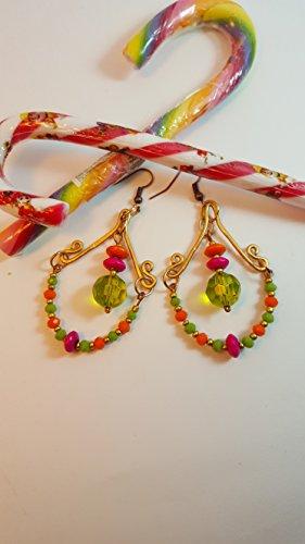 Orecchini pendenti collezione candy, verdi arancio e fuxia