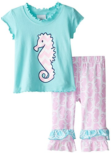 Flap Happy Baby Girls' Lettuce Edge Tee and Double Ruffle Capris Set