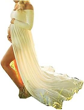 D-Pink, abito lungo maxi in chiffon per donna in gravidanza, adatto per fotografie sulla maternità