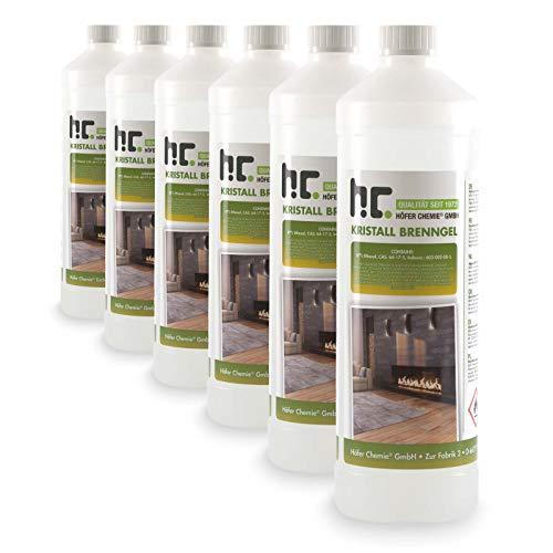 Höfer Chemie Kristall Brenngel Premium 6 x 1 L für Brenngel Dekofeuer, Brenngel Lampe und Brenngel Kamin
