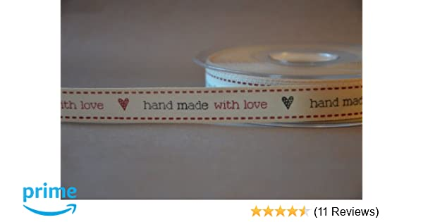 Berisfords Ribbon 15mm Red//Natural Hand Made With Love