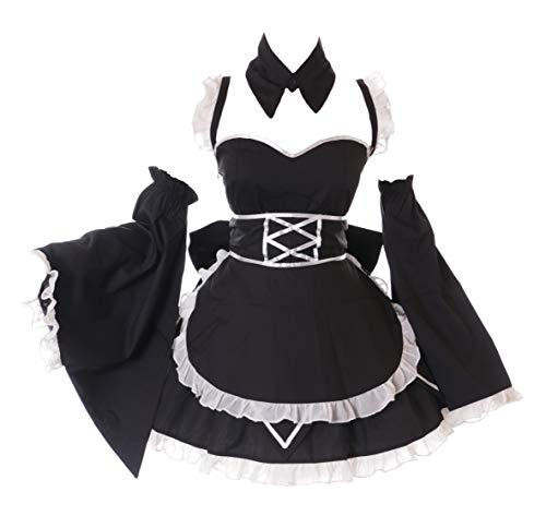 Anime Kostüm Maid - Kawaii-Story JL-674 Maid Zofe Schwarz 6-TLG. Set Anime Zimmermädchen Gothic Lolita Mini-Kleid Set Kostüm Cosplay (M)