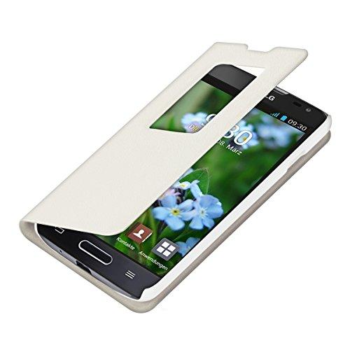 kwmobile Hülle für LG L90 - Bookstyle Case Handy Schutzhülle mit Sichtfenster - Klapphülle Weiß