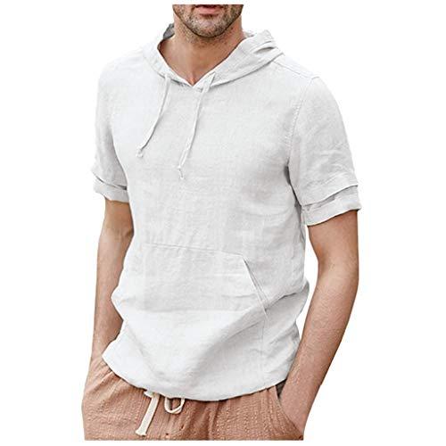VANMO Herren Hemd,2019 Sommer Herren Leinenhemden Pullover Hoodie Lässige leichte Kurzarm T Shirts Top Bluse Bequem Atmungsaktiv Faltenresistenz Stehkragen Hoodie