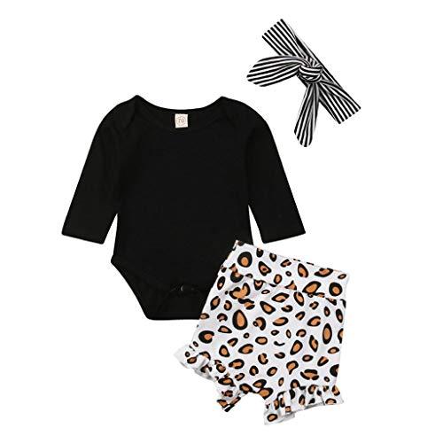 BeautyTop ❤v❤ 0-24 Monat Baby Mädchen Sommer Outfits Set Kleinkind Rundhals Kurzarm Einfarbig Strampler Body + Leopard Hosen +Haarband 3Stück Kinder Baby Schöne Schlichtes Kleidungsset Zweiteiliges -