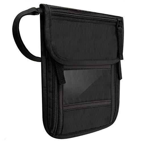 Brusttasche Reise mit RFID-Blockierung Diebstahlschutz Passbeutel (Schwarz 2)