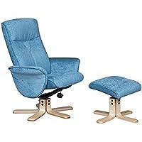 La Marrakech–Tessuto di qualità girevole sedia reclinabile in Aqua (Arms Girevole Sedia)