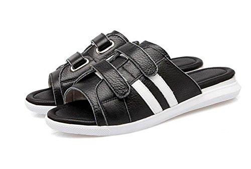SHINIK Frauen Sandalen Sommer Neue Leder Klett Sandalen Flatform Schuhe Weiß Sandalen Hausschuhe Slip-On Open Zurück Hausschuhe Schwarz Black