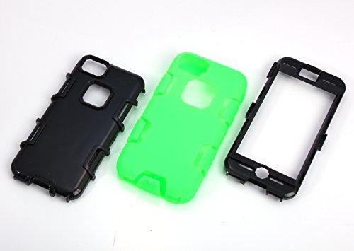 iPhone 5c Hülle, FindaGift 3 in 1 Hybride Handycover Hartschale Cover Roboter Guard Schutzhülle Innere PC Case Weich Silikon Back Rüstung Ganzkörper-Schutz [Bruchsicher] [Anti-Rutsch] Handytasche für  Smaragdgrün + Schwarzes