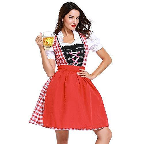 Oktoberfest Kostüm Erwachsene Mädchen Für - Yazidan Frau Bandage Bezahlt Bayerisch Oktoberfest KostüMe Bardame Dirndl Kleid Erwachsene Damen FranzöSisch Maid Schick Lolita Baumwolle Cosplay KostüM Taverne MäDchen Flirty Halloween(rot,S)