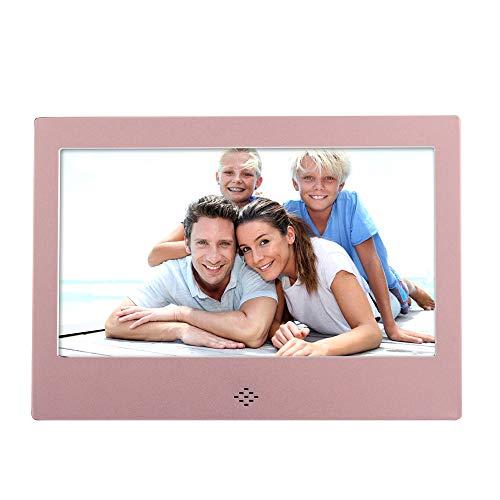 HLKYB Digitaler Bilderrahmen 7-Zoll-elektronischer Bilderrahmen mit Bewegungssensor 1080P HD-LCD-Display, Videoplayer / MP3 / Kalender/Zoom in Fernbedienung,Pink