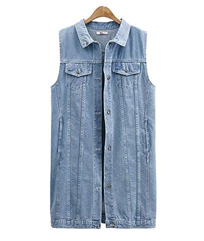 Anguang Damen Ärmellos Denim Jeans Strickjacke Weste Tanktops Beiläufig Jacke Hemd Schlank Passen Licht Blau
