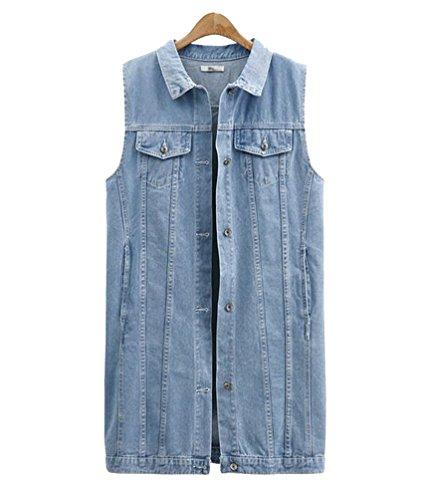 Anguang Damen Ärmellos Denim Jeans Strickjacke Weste Tanktops Beiläufig Jacke Hemd Schlank Passen Licht Blau 3XL (Damen-Ärmelloses Denim-hemd)