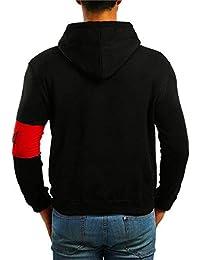 BUSIM Men's Long Sleeve Sweater Autumn Two-Color Splicing Print Slim Hoodie Pullover Sweatshirt Jacket Jacket...
