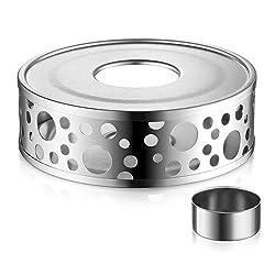 Glastal Stövchen Teewärmer Kaffeewärmer aus Edelstahl mit Teelichthalter,Teelicht und Teekanne ist Nicht enthalten (MEHRWEG)