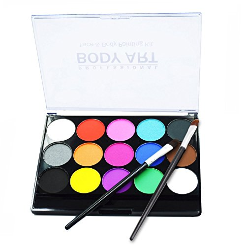 RIOGOO Kinderschminke Set Face Paint für Kinder,15 Farben Hypoallergen Make-up-Palette-Safe & Wasserbasiert und Ungiftig,FDA genehmigt, ideal für Halloween Party Face Painting