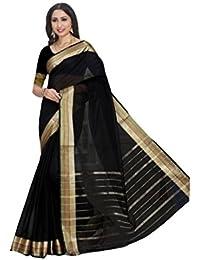 Craftsvilla Women's Kota Cotton Zari Work Saree with Blouse Piece(MCRAF42598779820_Black_Free Size)