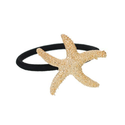 SEXY SPARKLES Nylon Cirlce Ring Hair Band Ponytail Holder Black Acrylic Imitation Pearl Choose Your Style From Menu (Starfish A)
