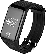 vGo Fitness Tracker with Continuous Heart Rate Monitoring and High Accuracy | In-coming call and Message Alert | Water Resistant Health Smart Watch with 0.66 inch OLED Screen | Activity Tracker with Pedometer, Calories Burned, Distance travelled | Sleep Monitoring | Remote Camera Control and Alarm for Android and iOS