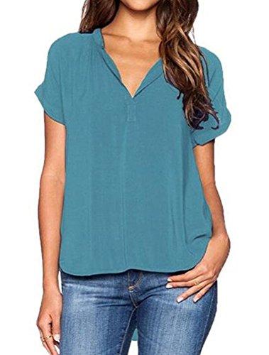 LAEMILIA Tops T-Shirt Femmes Blouse Eté Manche Courte Casual Chemise Sexy Col V Mousseline de Soie Elégant Uni Shirts Hauts Vert