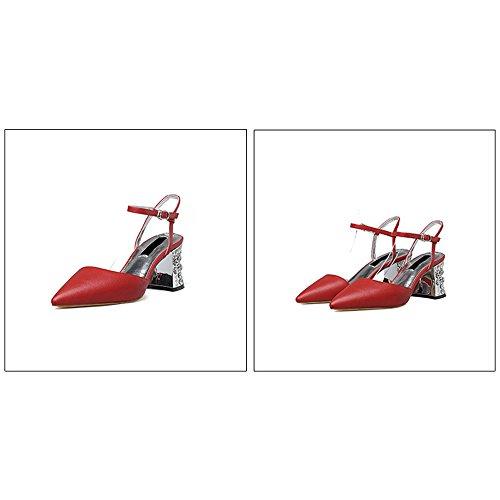 Eastlion Sexy Spitz Hochhackig Sandalen Flach Mund Schnalle Rau Schuh Hacke Schuhen mit hohen Absätzen Rot