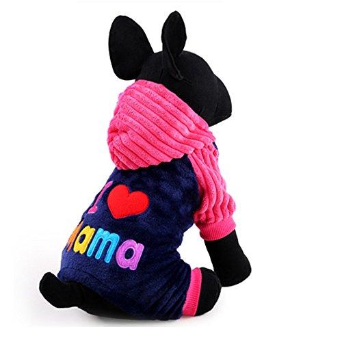 Imagen de freebily chaqueta con capucha de fiesta para mascota perro gato disfraz traje ropa invierno otoño para cachorro perrito rosa oscuro xs