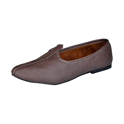 Bachini 1519 Brown Men Slip-Ons Juttis 9 UK