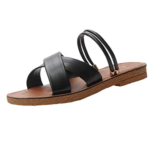 Amlaiworld ❤ Damen Flache Sandalen, Sommer Mode Mädchen Volltonfarbe vielseitig Flache Sandalen römische Sandalen und Slippe(Schwarz,40)